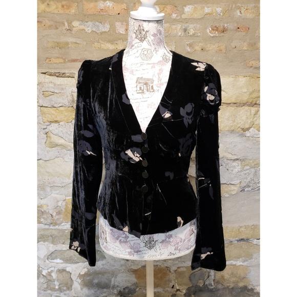 Armani Collezioni Tops - Armani Collezioni black and tan velour blouse